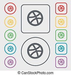 Basketball icon sign. symbol on the Round and square buttons with frame. Vector