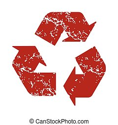Red grunge recycling logo
