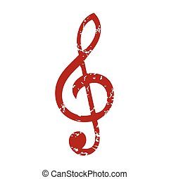 Red grunge music logo on a white background. Vector...