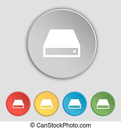 CD-ROM icon sign Symbol on five flat buttons Vector...