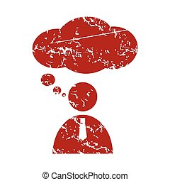 Red grunge speaking people logo on a white background Vector...
