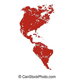 Red grunge continent America logo