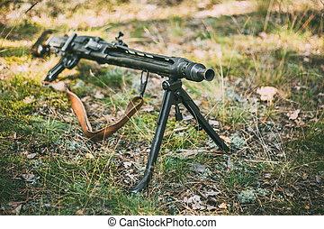 Alemán, armas de fuego, de, mundo, guerra, II, -, Un, MG,...