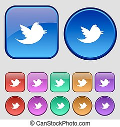 Social media, messages twitter retweet icon sign. A set of twelve vintage buttons for your design. Vector