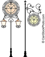 Wrought Iron Clock Vector Art