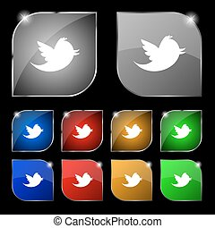 Social media, messages twitter retweet icon sign. Set of ten colorful buttons with glare. Vector