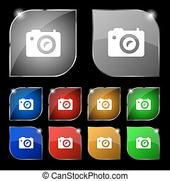 Digital photo camera icon sign. Set of ten colorful buttons with glare. Vector