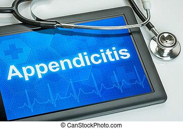 tabuleta, com, a, diagnóstico, apendicite, ligado, a,...