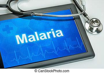 tableta, con, el, diagnóstico, Malaria, en, el,...