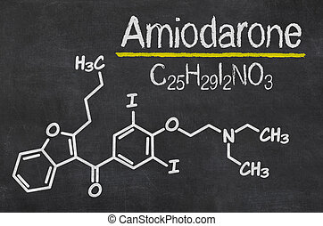 Blackboard with the chemical formula of Amiodarone