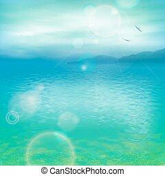 vetorial, mar, fundo