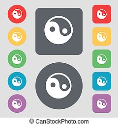 Ying yang icon sign. A set of 12 colored buttons. Flat...
