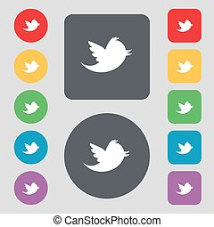 Social media, messages twitter retweet icon sign A set of 12...