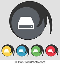 CD-ROM icon sign Symbol on five colored buttons Vector...