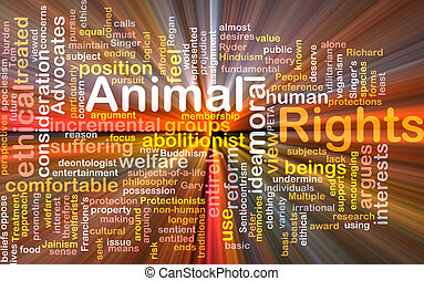 Animal rights wordcloud concept illustration glowing