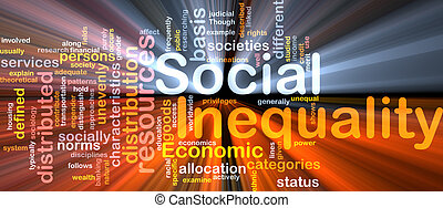 Social inequality wordcloud concept illustration glowing -...