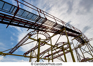abandoned rollercoaster and sky - abandoned roller coaster,...