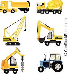 Vector flat construction cars icon set