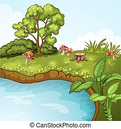 Green landscape with lake and mushrooms