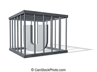 big U in a cage - uppercase letter U in a cage on white...