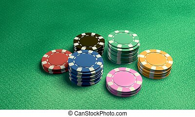 casino chips on table