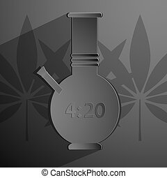 stylized black bong with an inscription 4 20. Vector...