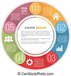 Circle Infographics Template - Circle infographics with five...