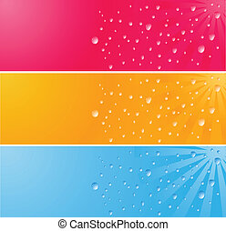 Multicolored banner with waterdrops - Three multcolored...