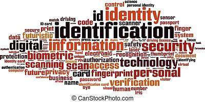 Identification word cloud concept Vector illustration