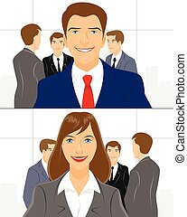 Group of a businessmen - Vector illustration of a group of a...