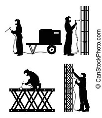 Four welders at work - Vector illustration of a four welders...