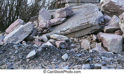 a pile of construction debris