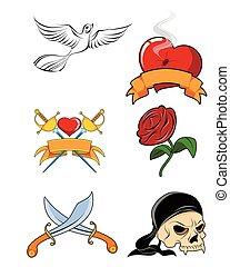 Six tattoo set