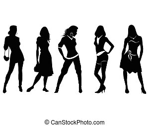 Five girls silhouettes