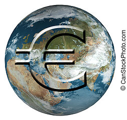Earth With Euro - Rendered 3d model of Earth with euro stamp