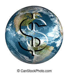 Earth with dollar - Rendered 3d model of Earth with dollar...