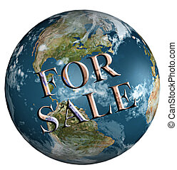 Earth for sale on white background
