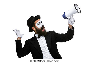 Man with a face mime screaming into megaphone - Man with a...