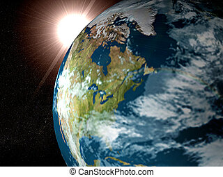 Earth And Sun - Rendered 3d model of Earth and Sun
