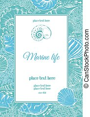 Sea theme - Vintage card with hand drawn sea elements -...