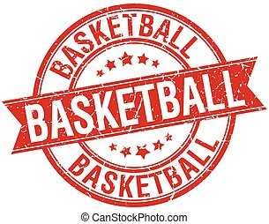 basketball grunge retro red isolated ribbon stamp