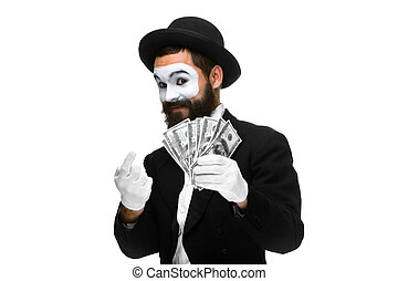 mime as businessman luring money - Man with a face mime...