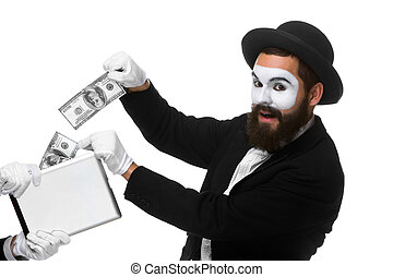 businessmans hand in the form of mime extract money from...