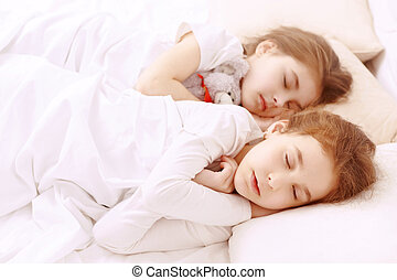 Two little cute sleeping girls - Fast asleep Two little cute...