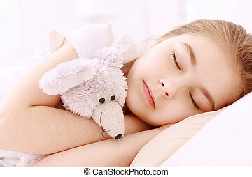 Pretty little girl sleeping well - With friend together....