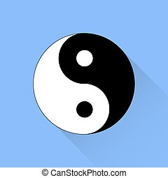 Yin Yang Symbol of of Harmony and Balance Isolated on Blue...