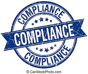 compliance grunge retro blue isolated ribbon stamp