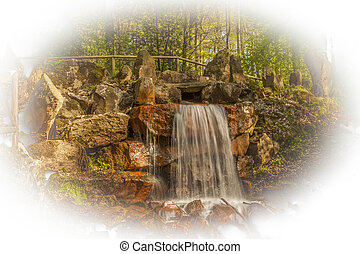 Waterfall at casino park, Germany - Waterfall at the casino...