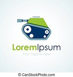 Green cute army tank graphic design logo icon