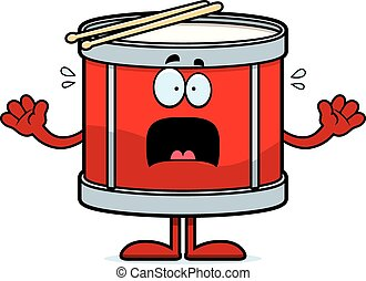 Scared Cartoon Drum - A cartoon illustration of a drum...